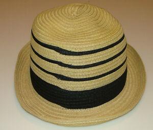 New Era Cap Hat EK Collection Fedora Strip Straw Top Small Tan Old School Retro