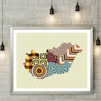 Hungary Map Art Print Budapest Travel Poster Abstract Painting Home Wall Decor