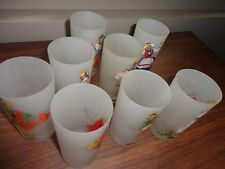 VINTAGE 50S SET OF 8 GAY FAD RETRO CHARLES DICKENS HAND PAINTED HIGH BALL GLASS