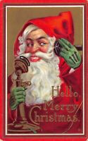 Christmas PC Santa Claus Wearing Green Gloves Talking on the Telephone~125591