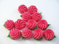 12 bright pink  Rose Swirls handmade royal icing edible sugar piping cake topper