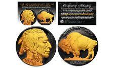 1930's BLACK RUTHENIUM & 24K Gold Original Indian Head Buffalo Nickel FULL DATES