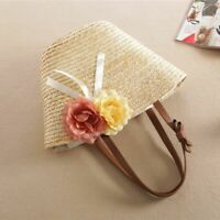 Women Handbags Bohemian Flower Rattan Wicker Woven  Beach Straw Shoulder Bags