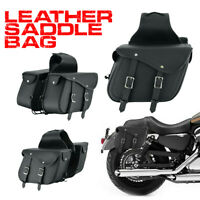 2x Motorbike Saddle Bags Motorcycle Pannier Leather Side Storage Bag PU Leather