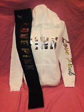 Victoria's Secret PINK Legging Rainbow Jacket Zip Up Sequin Bling Set New Large