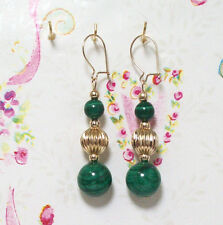 Malachite With 14K Gold Earrings. 1.75 Inches Long. MC14K007