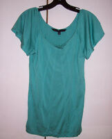NWT Marc by Marc Jacobs Turquoise Blue Spun Silk Pin Tucked Top Blouse Sz Medium
