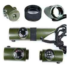 1x 7in1 Camping Survival Whistle Compass Thermometer Magnifier LED Flashlight A