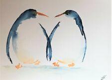 "Original watercolour painting Penguins 14"" x 11"" including mount"