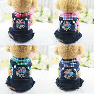 Plaid Dog Denim Jumpsuit Jeans Romper Puppy Pet T-Shirt For Small Dogs Clothes