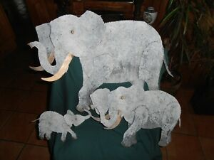 LARGE~SIGNED/DATED~CURTIS JERE~METAL ELEPHANTS~DIMENTIONAL WALL SCULPTURE~V/G/C