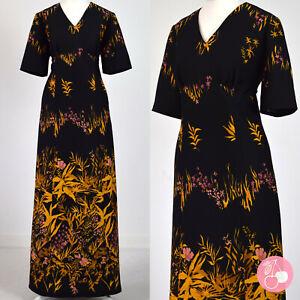 BLACK, ORANGE & PINK FLORAL 1970s VINTAGE HIPPY BOHO MAXI DRESS 14