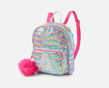 NEW Justice Flip Sequin Mini Small Backpack Initial Bag Rainbow C E K S