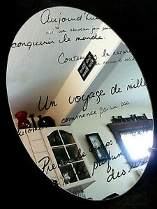 FRENCH Quotes OVAL MIRROR Frameless Wall Hanging Bath Bedroom INSPIRATION Hope