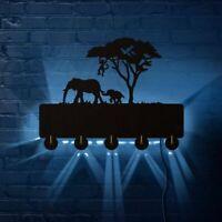 Elephant Family Monkey LED Lighted Wall Hook Coat Keys Holder Bags Clothes Rack