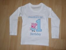 Personalised Embroidered Long Sleeve George Pig First 1st Birthday T-shirt