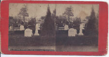 1880s STEREOVIEW MT HOPE OH? CEMETERY VIEW NEAR CHAPEL