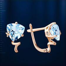 Russische Rose Rotgold 585 Ohrringe mit Trillion hellblau Topas.  2.89g