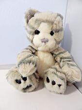"Plush Gray and White Striped Kitty Cat Kitten Stuffed Animal 7"" Bean Bag Filling"