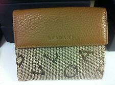 Men's Ladies Tan Leather BVLGARI Wallet Purse with Beige Logo on Coin Flap