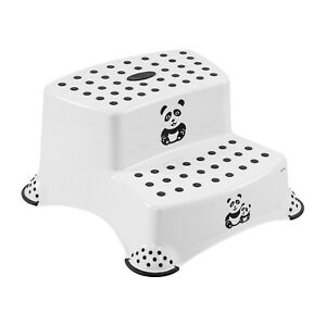 Keeeper Panda Tritthocker zweistufig mit Anti-rutsch-Funktion Weiß