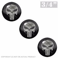 "3 Pack Gel Top Domed Glossy 3/4"" 3M Premium Decal Stickers PUNISHER SKULL SIL"