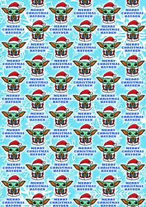BABY YODA Personalised Christmas Gift Wrap - Baby Yoda Star Wars Wrapping Paper