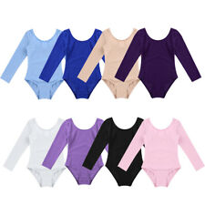 Girls Kids Ballet Gymnastics Long Sleeve Leotards Bodysuit Dancee Wear Costumes