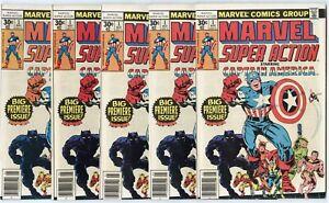 Marvel Super Action #1 (5 copies) avg. NM- 9.2  Reprints Cap #100  1977  No Resv