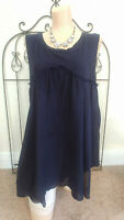 STYLE & CO Women's TunicTop Baby Doll Size L Cotton Sleeveless NAVY BLUE