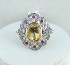 VICTORIAN DIAMOND NATURAL CITRINE RUBY GOLD SILVER RING