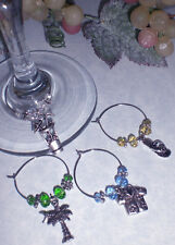 Hawaiian Tropical Party ~ Set of 4 Wine Glass Charms Great Holiday Gift Idea!