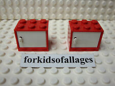 2 Cabinets Lego Lot U PICK COLOR 2 x 3 x 2 Cabinet Cupboard Container w/Door
