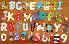 5 handmade IRON ON fabric letters and numbers,no sewing  personalisation