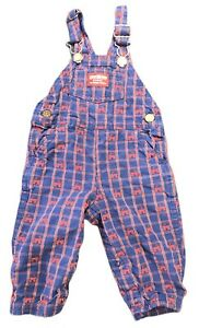Vintage OSHKOSH B'GOSH Vestbak Boys Overalls Blue Red Wagon Print USA Size 12M