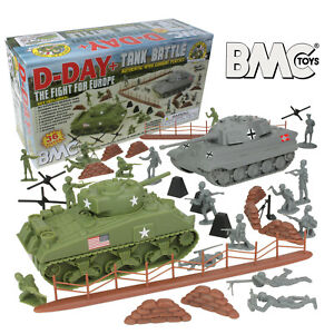 BMC WW2 D-DAY Plastic Army Men TANK BATTLE 36pc Soldier Figure 1:32 54mm Playset