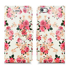 Flip Wallet Leather Cover Case for Apple iPhone Models Screen Protector Roses on White I Phone 5 5s