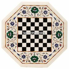 18'' White Marble Chess Table Top Malachite Floral Arts Inlay Mosaic Patio Decor