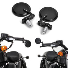 Universal Motorcycle Round Handle Bar Grips End Rearview Mirrors Best Price US