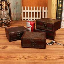 1PC Vintage Retro Wooden Storage Case Sundries Organizer Treasure Jewelry Box