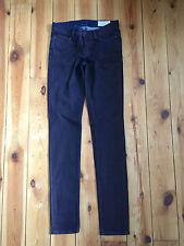 ALLSAINTS LADIES MAROON/BLUE COATED 'SLIM LEG' DENIM JEANS W25 L32