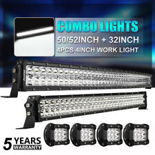 "Curved 52Inch LED Light Bar + 32in +4"" LENS PODS OFFROAD SUV 4WD ATV VS 50/42/20"