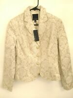 New $178 Womens Size 4 The Limited Tan Beige Gold Floral 3 Button Blazer Jacket