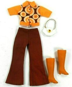 Barbie Vintage Set Clone Shillman Top & Pants Brown Orange Rubber Boots HM Bag
