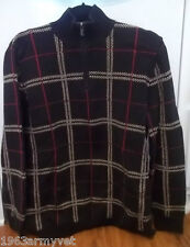 Men's Ralph Lauren Polo Large Black, Red and Brown Plaid L/S Sweater, 1/4 Zip