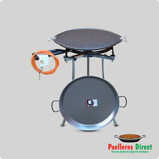 55cm Spanish Paella Pan, 53cm Cast Iron BBQ Griddle & 40cm Gas Burner Kit / Set