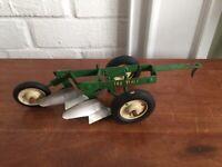 1/16 Tru Scale ~ John Deere ~ 2 Bottom Plow Toy ~ Vintage