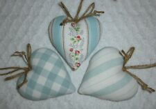 3 Handmade Laura Ashley/Cath Kidston ~ Duck Egg Blue ~ Heart Door Hangers