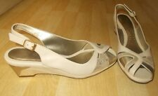 Ladies K by CLARKS Cream&Gold Soft Leather Slingback Wedge Sandals - Size UK 5.5