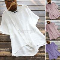 ZANZEA Womens Summer Short Sleeve O Neck Solid Cotton Shirt Tee Loose Top Blouse